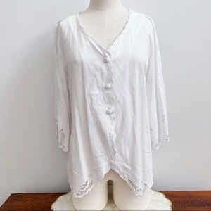 Soft Surroundings White 3/4 Floral Sleeve Top S